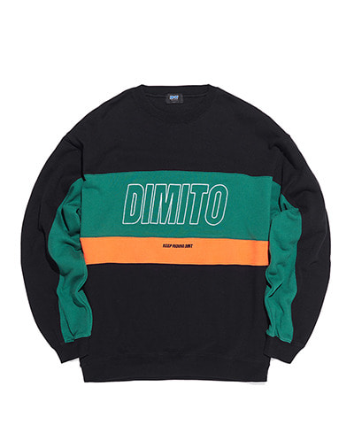 LINE PANELED SWEATSHIRTS BLACK