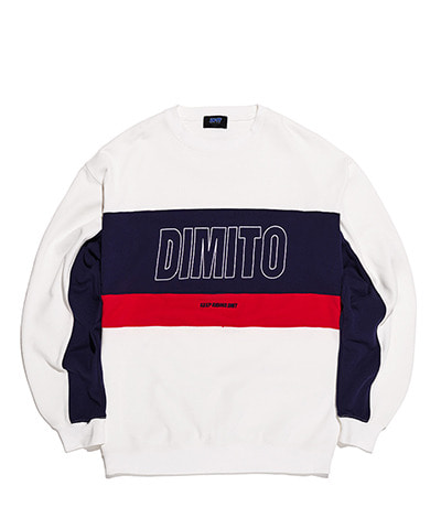 LINE PANELED SWEATSHIRTS WHITE